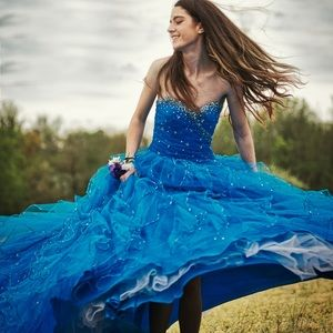 Blue Mori Lee Prom Gown